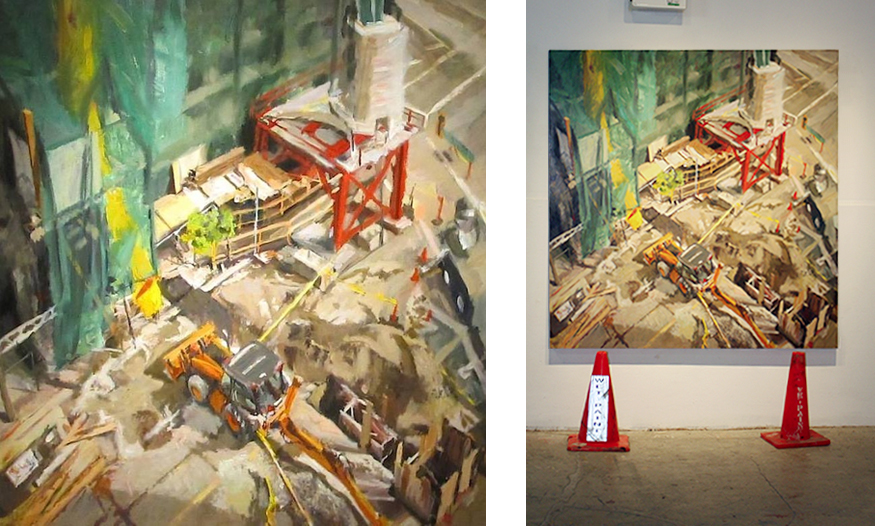 installation shot approx. 6' square oil painting of construction site looking down into deep space made for underground
