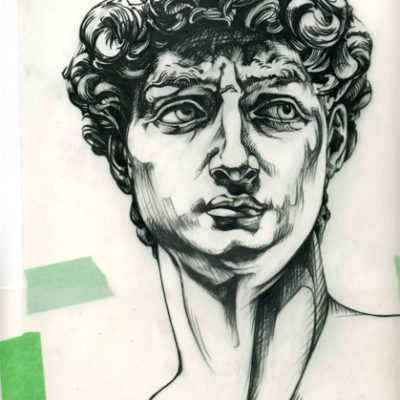Michelangelo's David illustration, prismacolor on mylar