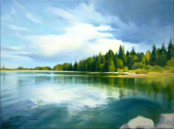 landscape painting of clouds over water