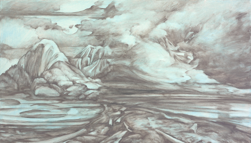 Soft grey monochromatic moody atmospheric landscape painting