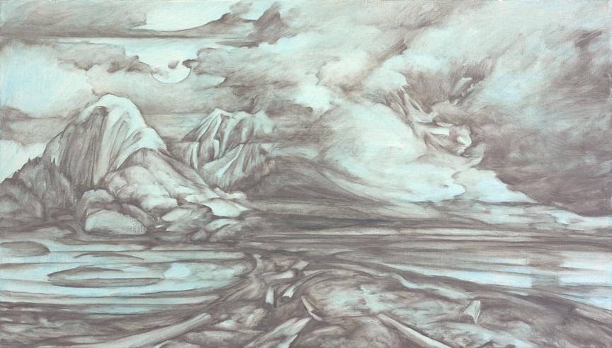 Soft grey monochromatic moody atmospheric landscape painting